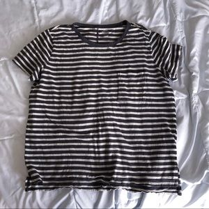 Gray and white stripe tee shirt from Old Navy